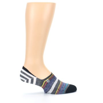 Image of Black White Yellow Red Stripes Men's No Show Liner Socks (side-1-24)