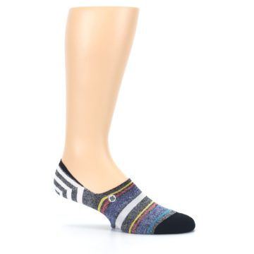 Image of Black White Yellow Red Stripes Men's No Show Liner Socks (side-1-25)