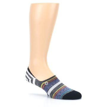 Image of Black White Yellow Red Stripes Men's No Show Liner Socks (side-1-26)