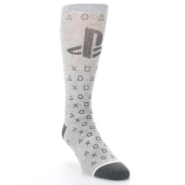 Image of Gray Black Playstation Logo Men's Casual Socks (side-1-front-02)