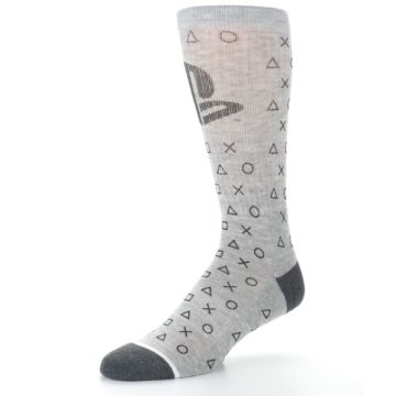 Image of Gray Black Playstation Logo Men's Casual Socks (side-2-09)