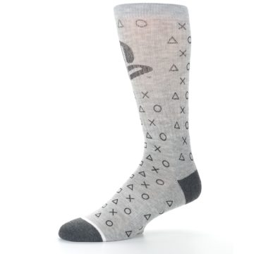 Image of Gray Black Playstation Logo Men's Casual Socks (side-2-10)