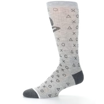 Image of Gray Black Playstation Logo Men's Casual Socks (side-2-11)