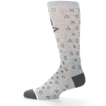 Image of Gray Black Playstation Logo Men's Casual Socks (side-2-12)