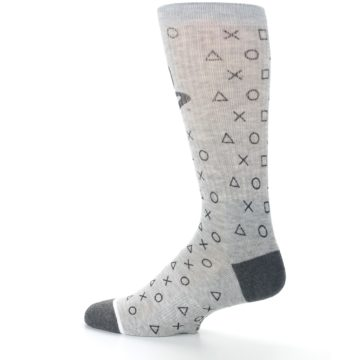 Image of Gray Black Playstation Logo Men's Casual Socks (side-2-13)