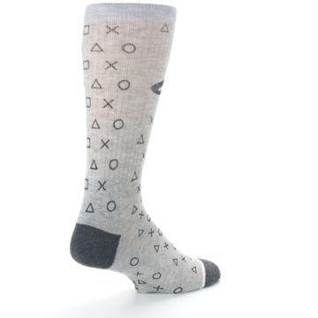 Image of Gray Black Playstation Logo Men's Casual Socks (side-1-back-22)