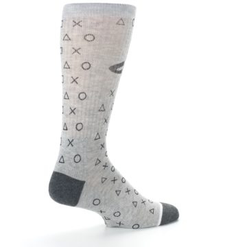 Image of Gray Black Playstation Logo Men's Casual Socks (side-1-23)