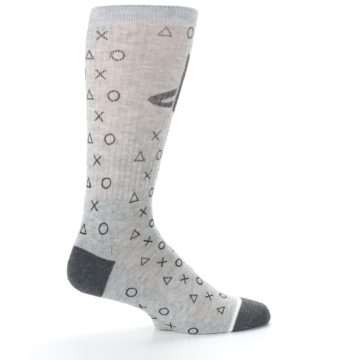 Image of Gray Black Playstation Logo Men's Casual Socks (side-1-24)