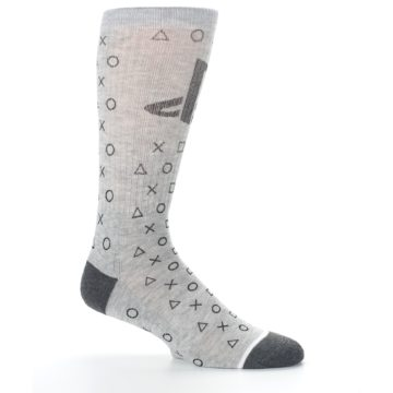 Image of Gray Black Playstation Logo Men's Casual Socks (side-1-25)