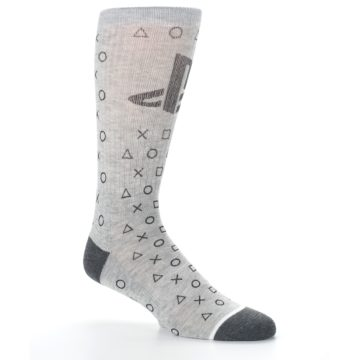 Image of Gray Black Playstation Logo Men's Casual Socks (side-1-26)