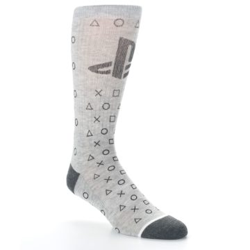 Image of Gray Black Playstation Logo Men's Casual Socks (side-1-27)