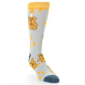 Image of Slate Gold Honey Bear Men's Dress Socks (side-1-front-02)