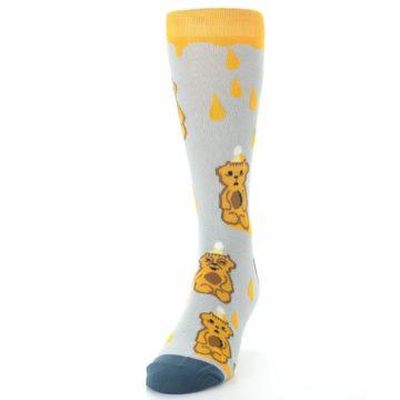 Image of Slate Gold Honey Bear Men's Dress Socks (side-2-front-06)