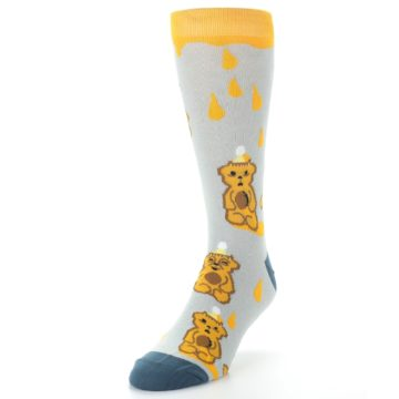 Image of Slate Gold Honey Bear Men's Dress Socks (side-2-front-07)