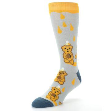 Image of Slate Gold Honey Bear Men's Dress Socks (side-2-front-08)