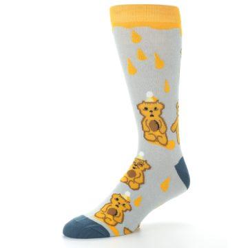 Image of Slate Gold Honey Bear Men's Dress Socks (side-2-09)