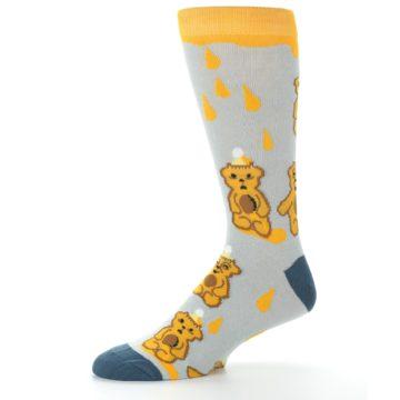 Image of Slate Gold Honey Bear Men's Dress Socks (side-2-10)