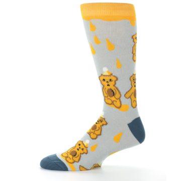 Image of Slate Gold Honey Bear Men's Dress Socks (side-2-11)