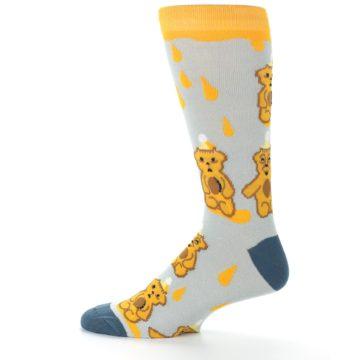 Image of Slate Gold Honey Bear Men's Dress Socks (side-2-12)