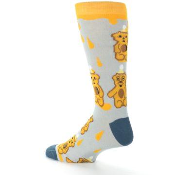 Image of Slate Gold Honey Bear Men's Dress Socks (side-2-back-14)