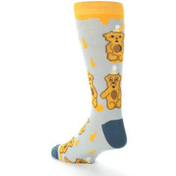 Image of Slate Gold Honey Bear Men's Dress Socks (side-2-back-15)