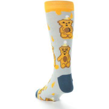 Image of Slate Gold Honey Bear Men's Dress Socks (side-2-back-16)