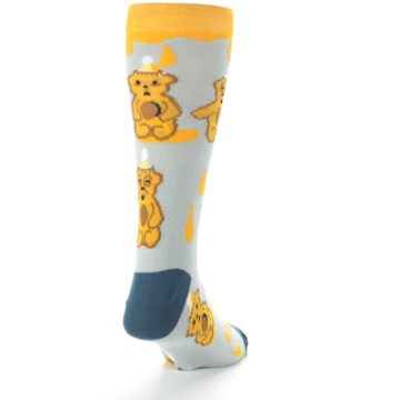 Image of Slate Gold Honey Bear Men's Dress Socks (side-1-back-20)
