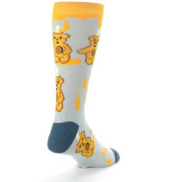 Image of Slate Gold Honey Bear Men's Dress Socks (side-1-back-21)