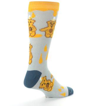 Image of Slate Gold Honey Bear Men's Dress Socks (side-1-back-22)