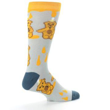 Image of Slate Gold Honey Bear Men's Dress Socks (side-1-23)