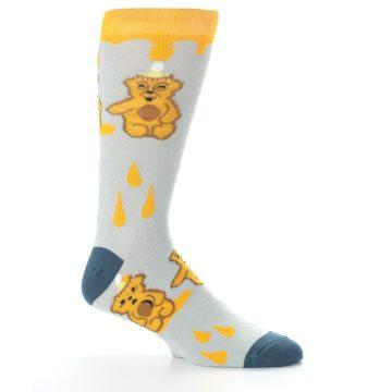Image of Slate Gold Honey Bear Men's Dress Socks (side-1-25)