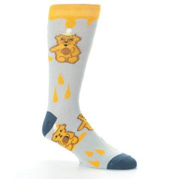 Image of Slate Gold Honey Bear Men's Dress Socks (side-1-26)