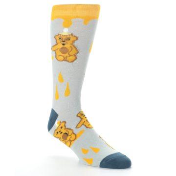 Image of Slate Gold Honey Bear Men's Dress Socks (side-1-27)