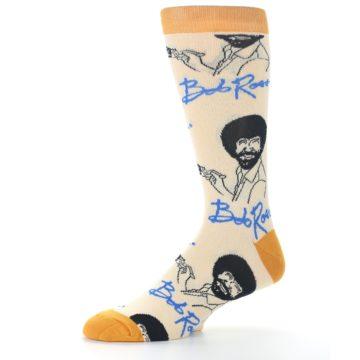 Image of Tan Gold Bob Ross Signature Men's Dress Socks (side-2-10)