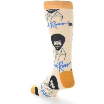 Image of Tan Gold Bob Ross Signature Men's Dress Socks (side-2-back-15)