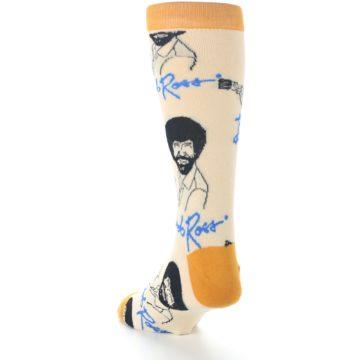 Image of Tan Gold Bob Ross Signature Men's Dress Socks (side-2-back-16)