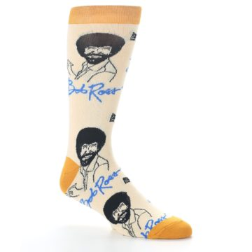 Image of Tan Gold Bob Ross Signature Men's Dress Socks (side-1-26)