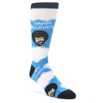 Blue-White-Bob-Ross-Happy-Clouds-Mens-Dress-Socks-Oooh-Yeah-Socks