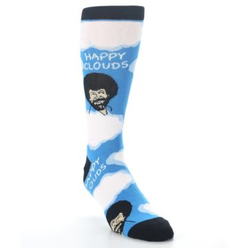 Image of Blue White Bob Ross Happy Clouds Men's Dress Socks (side-1-front-02)