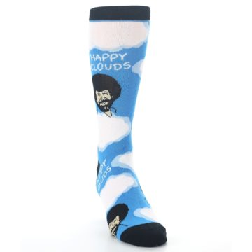 Image of Blue White Bob Ross Happy Clouds Men's Dress Socks (side-1-front-03)