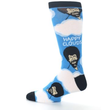 Image of Blue White Bob Ross Happy Clouds Men's Dress Socks (side-2-13)