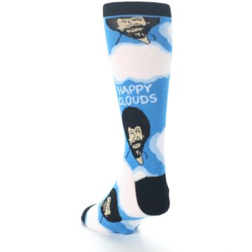 Image of Blue White Bob Ross Happy Clouds Men's Dress Socks (side-2-back-16)