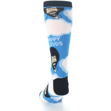Image of Blue White Bob Ross Happy Clouds Men's Dress Socks (back-17)