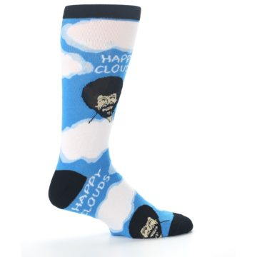 Image of Blue White Bob Ross Happy Clouds Men's Dress Socks (side-1-24)