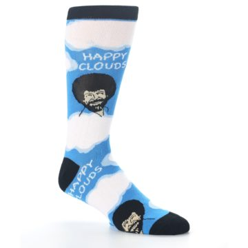 Image of Blue White Bob Ross Happy Clouds Men's Dress Socks (side-1-26)