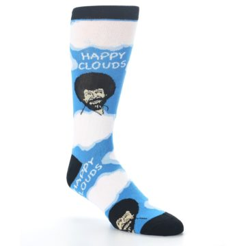 Image of Blue White Bob Ross Happy Clouds Men's Dress Socks (side-1-27)
