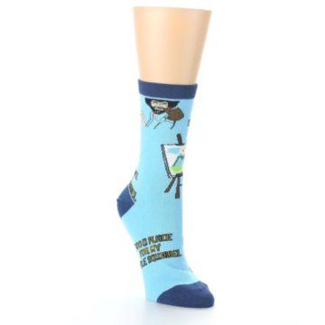 Image of Blue Bob Ross Little Squirrel Women's Dress Socks (side-1-front-02)