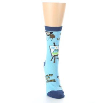 Image of Blue Bob Ross Little Squirrel Women's Dress Socks (front-04)