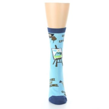 Image of Blue Bob Ross Little Squirrel Women's Dress Socks (front-05)