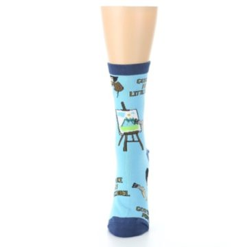 Image of Blue Bob Ross Little Squirrel Women's Dress Socks (side-2-front-06)